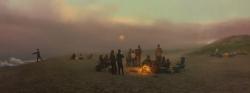 Beach in Fog at Sunset