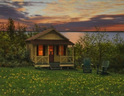 Cabin by the Ocean in Spring